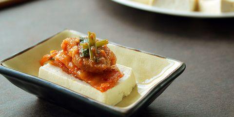 Gourmet hot tofu and kimchi dish