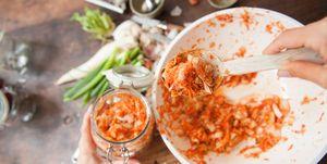 Kimchi in een pot