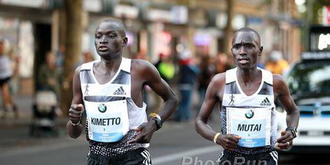 Dennis Kimetto and Emmanuel Mutai at the 2014 Berlin Marathon