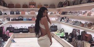 kim kardashian, wardrobe, handbags, birkin, closet