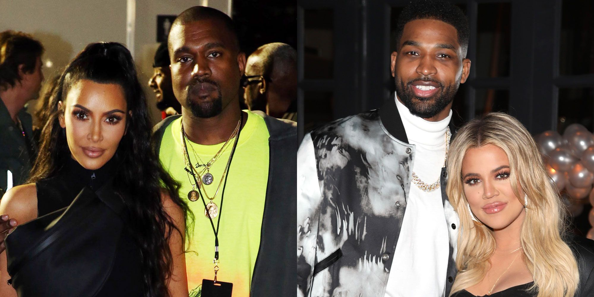 Kim Kardashian and Kanye West and Khloe Kardashian and Tristan Thompson