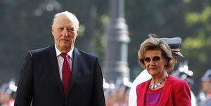 Harald y Sonia de Noruega en su visita a Chile