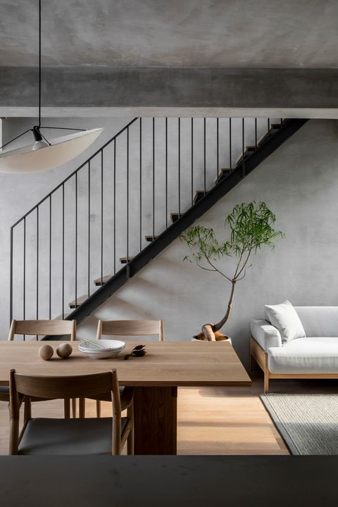 Stairs, Furniture, Interior design, Room, Table, Floor, Wall, House, Architecture, Handrail,
