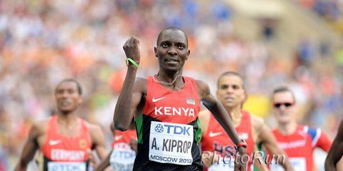 Asbel Kiprop winning the 2013 1500-meter world championship