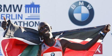 Wilson Kipsang enjoys his new marathon world record in Berlin