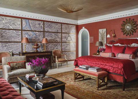 kips bay dallas 2021, red bedroom