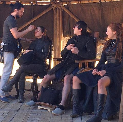 Kit Harington does Maisie Williams make up