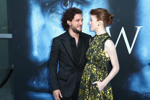Kit Harington and Rose Leslie attend the Season 7 premiere of Game of Thrones.