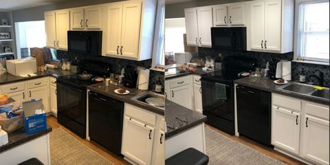 Countertop, Kitchen, Cabinetry, Room, Furniture, Property, Major appliance, Building, Kitchen stove, Home,