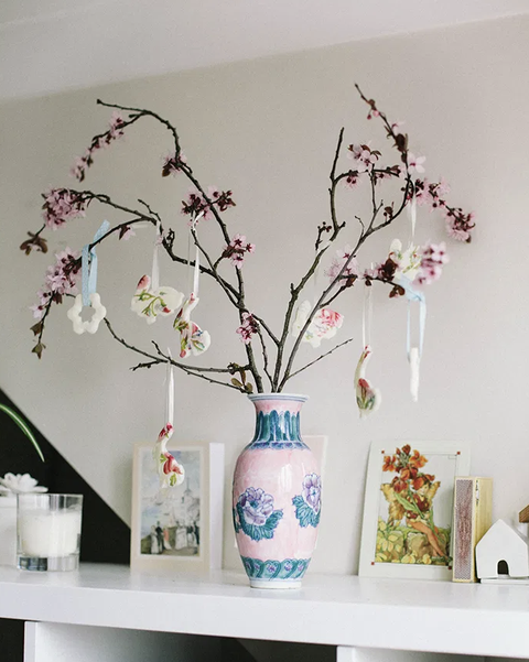 cherry blossom in vase with bunny ornaments