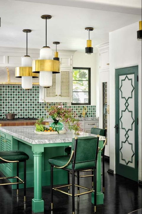 Green, Room, Furniture, Dining room, Turquoise, Kitchen, Interior design, Property, Tile, Table,