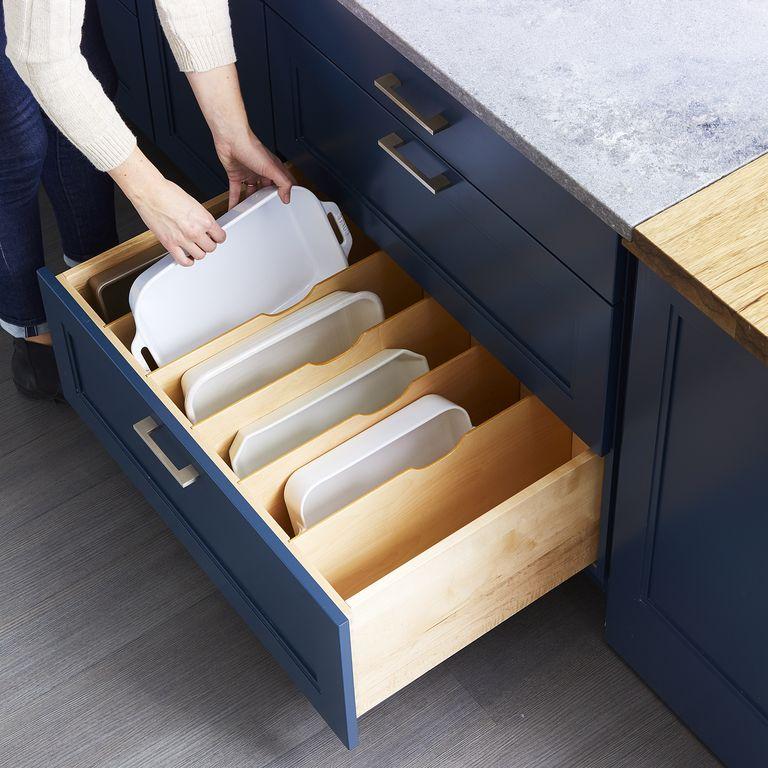 طريقة تقسيم أدراج المطبخ - منظم صواني الفرن