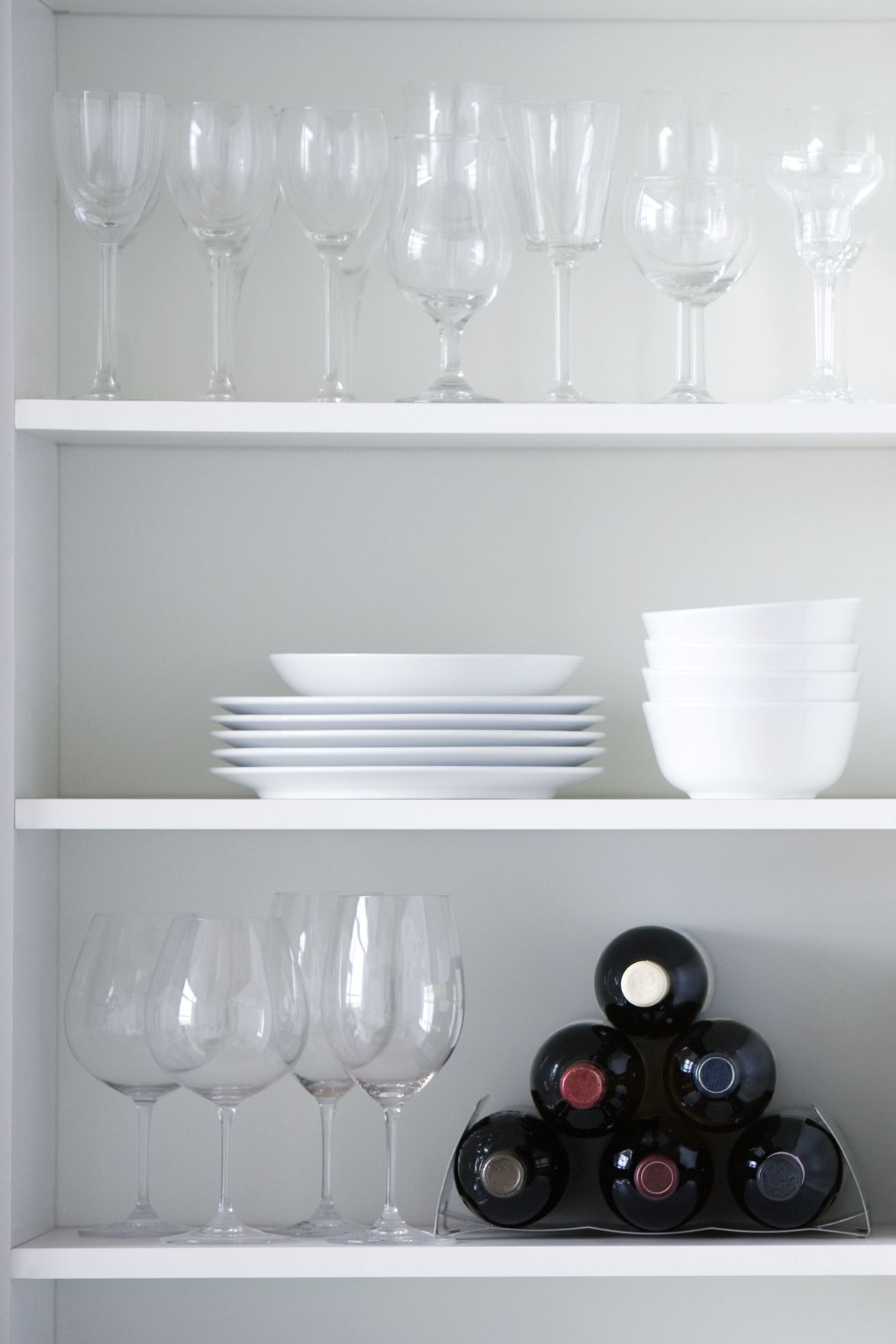 Kitchen cupboard, interior design in white color