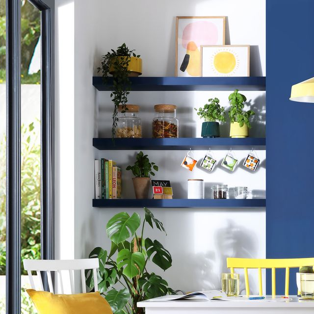 alcove ideas, floating shelves fitted in kitchen dining alcove