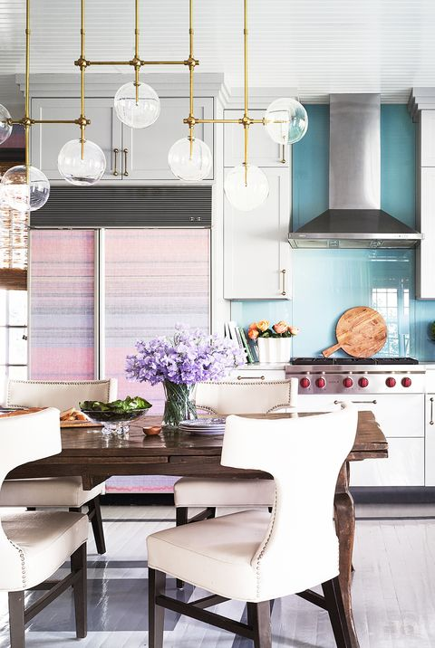 kitchen with blue walls