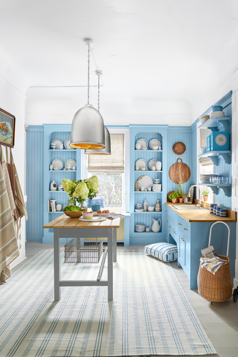 Kitchen Island Ideas - Blue Shelving