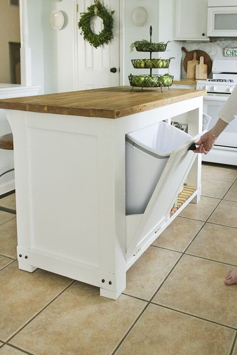 kitchen islands trash storage