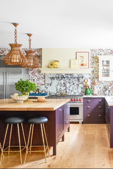 kitchen with purple cabinets