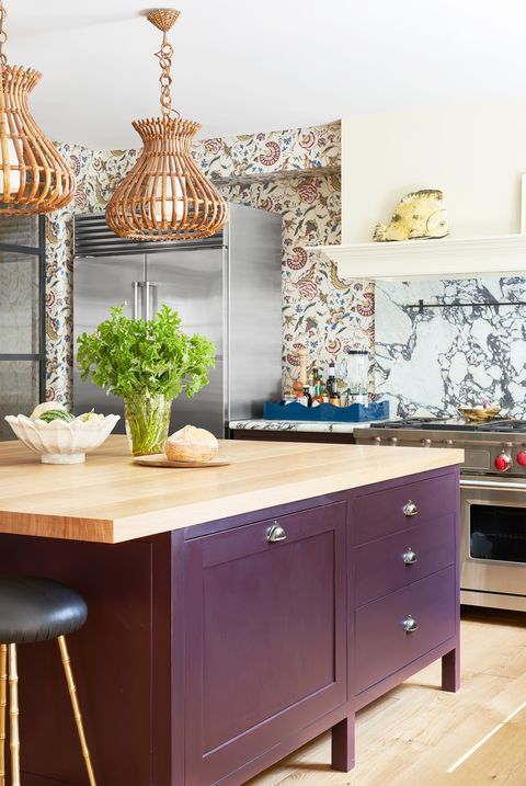 kitchen with purple island