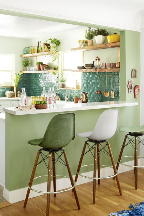 small green bohemian kitchen