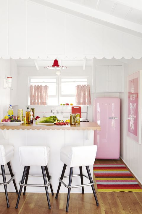 retro kitchen with pink frig