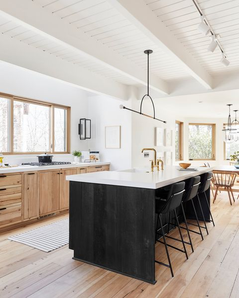 Countertop, Furniture, Room, White, Kitchen, Property, Ceiling, Cabinetry, Interior design, Wood flooring,
