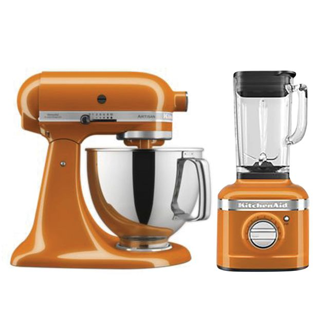 kitchenaid mixer and blender in honey color