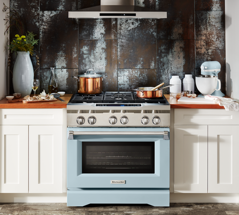 Kitchenaid Released A Misty Blue Freestanding Range Kitchenaid S 100 Year Collection