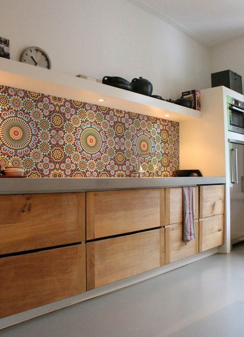 Maroc Kitchen Wall Wallpaper Lime Lace