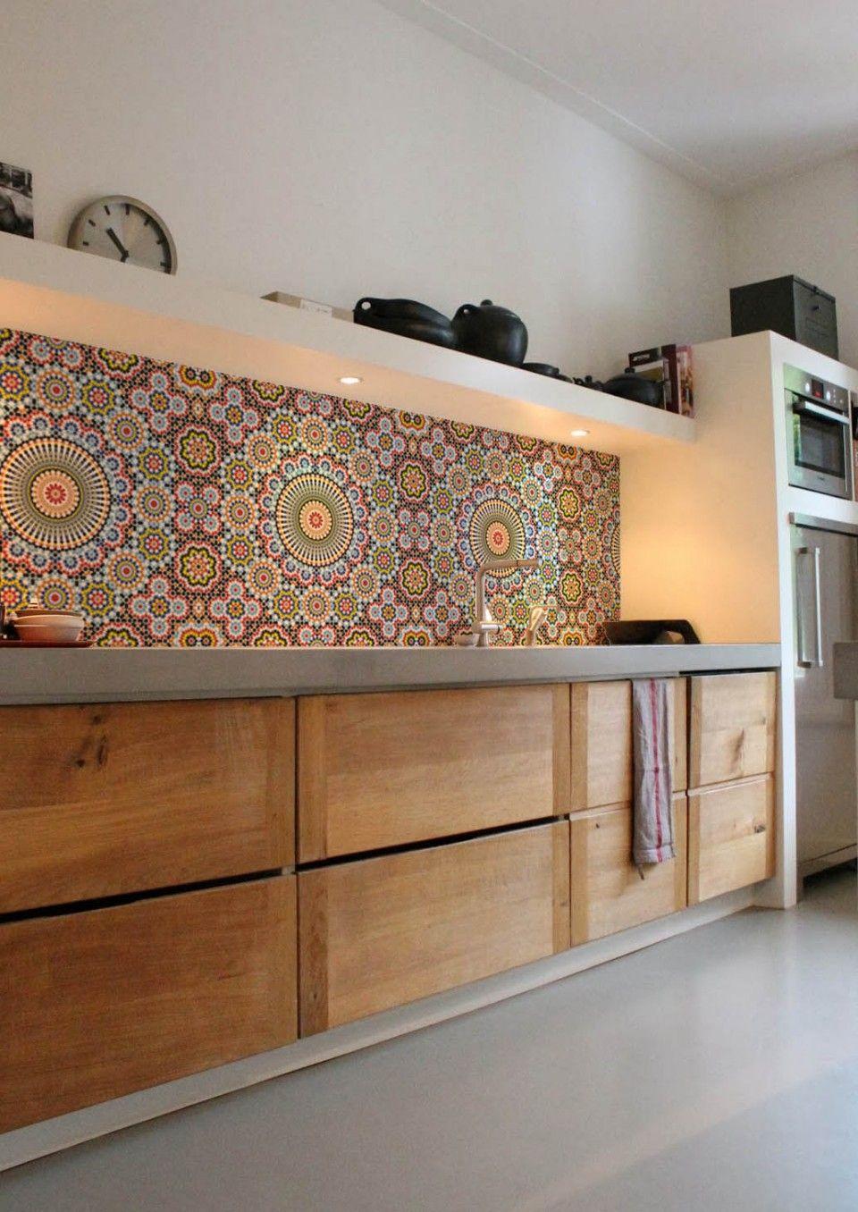 Maroc Kitchen Wall Wallpaper, Lime Lace