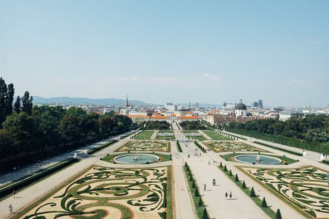 Belvedere palace landscaped gardens with vienna, austrian city in the background