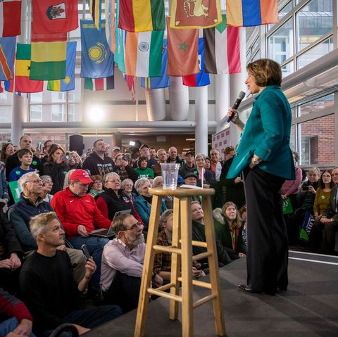 Presidential Candidate Amy Klobuchar Campaigns In New Hampshire In Final Days Before Primary