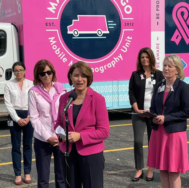 senator amy klobuchar at a breast cancer awareness event on october 1 2021