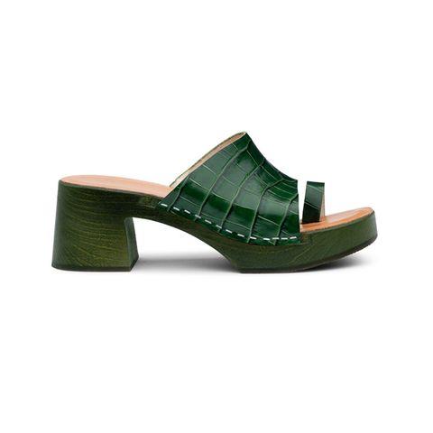 Footwear, Green, Sandal, Shoe, Slingback, Beige, High heels, Clog, Leather,