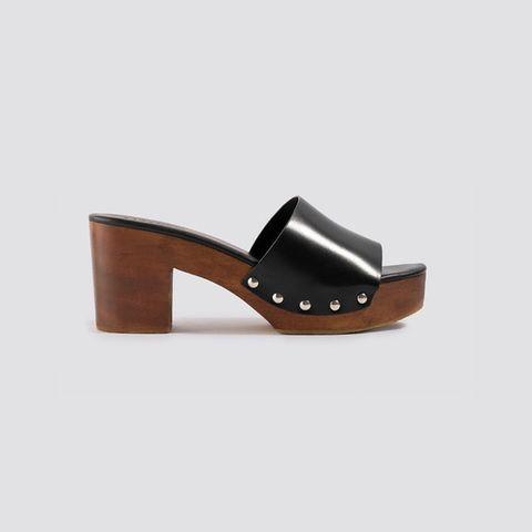 Footwear, Shoe, Slingback, Sandal, Tan, Clog, Brown, Leather, High heels, Outdoor shoe,