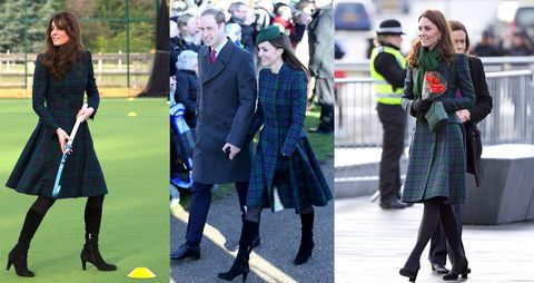 Kate Middleton repeating her green plaid Alexander McQueen dress coat.
