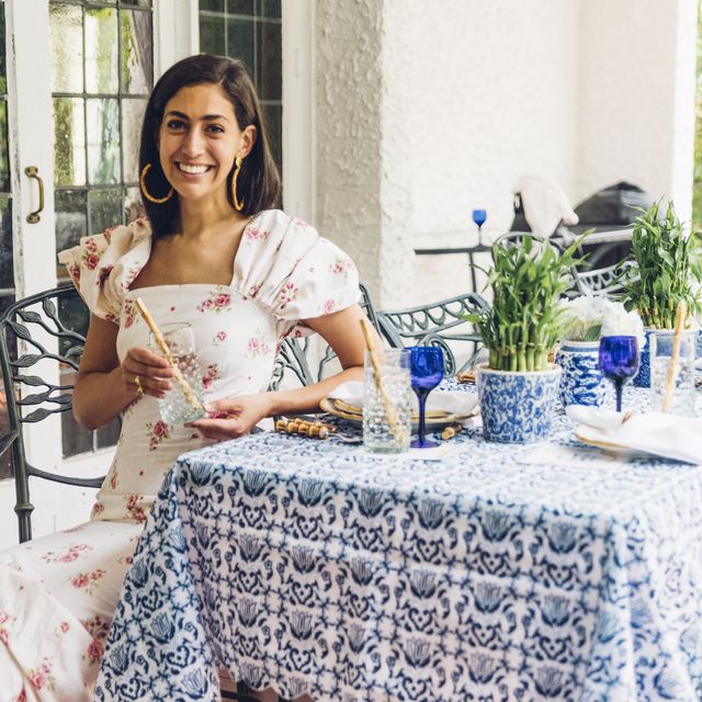 Tablecloth, Textile, Linens, Room, Table, Sitting, Dress, Furniture, Photography, Floral design,