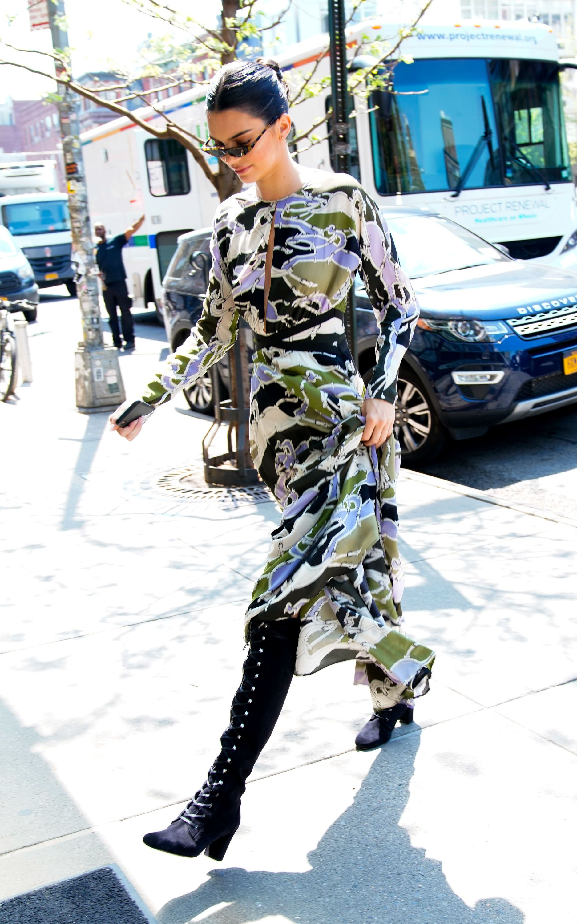 Kendall Jenner camouflage dress