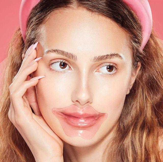 woman wearing knc beauty lip mask