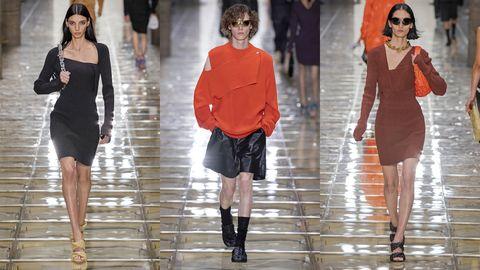 Fashion model, Fashion, Clothing, Fashion show, Runway, Shoulder, Footwear, Orange, Joint, Fashion design,