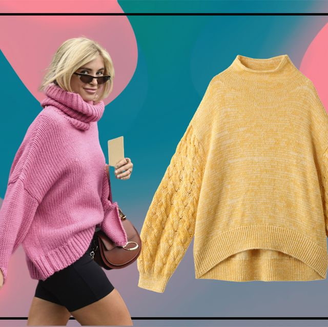Clothing, Outerwear, Pink, Yellow, Sweater, Fashion, Sleeve, Woolen, Top, Pattern,