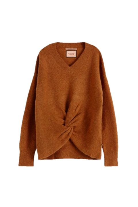 Clothing, Outerwear, Sweater, Orange, Cardigan, Brown, Sleeve, Tan, Jersey, Top,