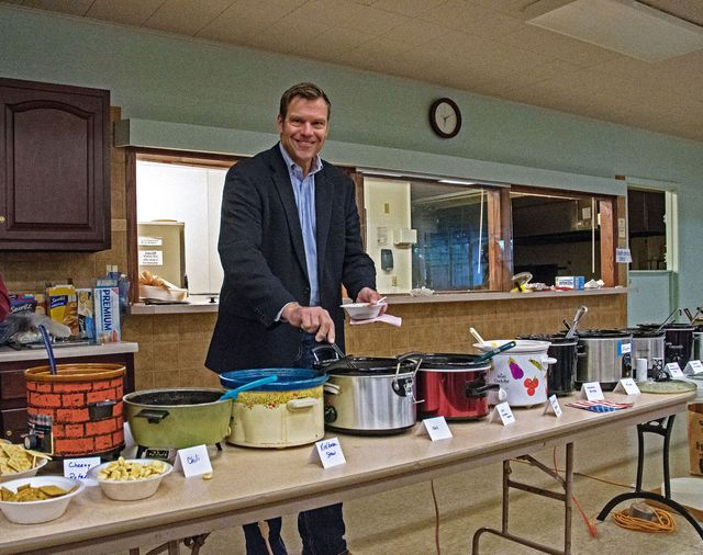 republican gubernatorial candidate kris kobach helps himself to some of the chili at the lyon county senior center during tonight's fundraiser in emporia, kansas, october 28, 2018 photo by mark reinsteincorbis via getty images