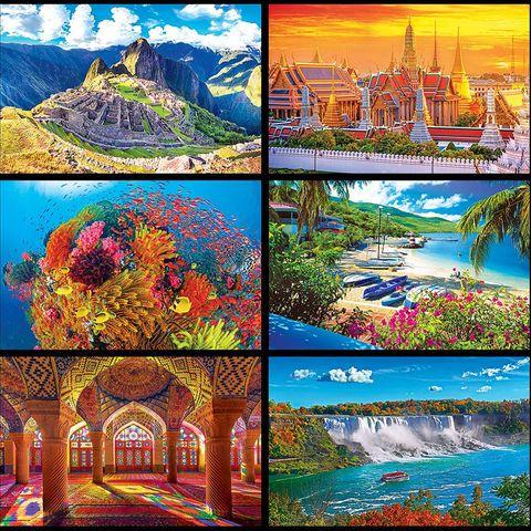 Nature, Natural landscape, Landmark, Collage, Art, Tourism, Painting, Colorfulness, Adaptation, Stock photography,