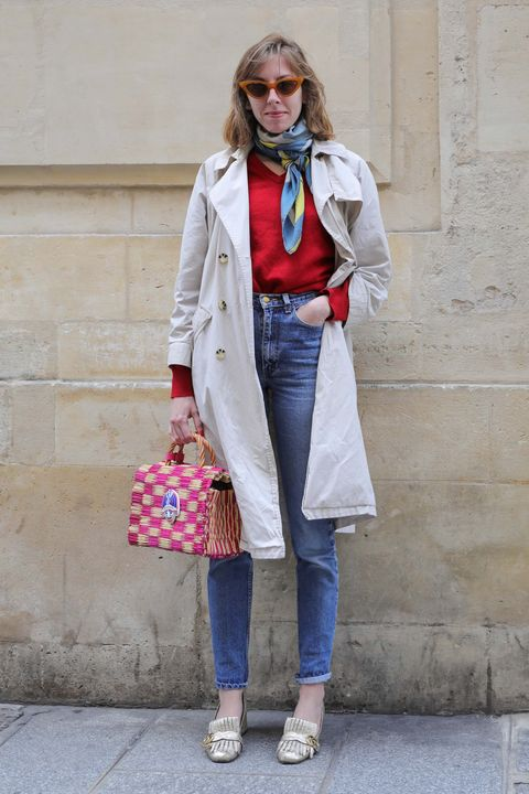 Clothing, Street fashion, Jeans, White, Denim, Fashion, Coat, Footwear, Snapshot, Trench coat,