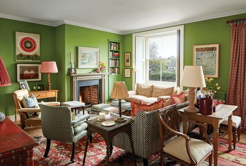 Room, Dining room, Furniture, Property, Interior design, Green, Red, Living room, Building, Table,