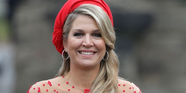 trier, germany   october 11  queen maxima of the netherlands smiles upon her arrival at the porta nigra, a magnificent 2nd century roman city gate, on october 11, 2018 in trier, germany king willem alexander of the netherlands and queen maxima of the netherlands are on a three day visit to germany  photo by andreas rentzgetty images