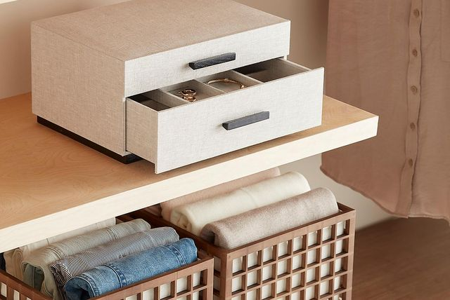 storage bins for clothes and jewelry