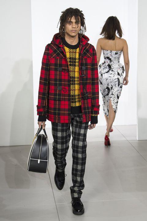 Plaid, Tartan, Fashion, Clothing, Pattern, Fashion model, Design, Textile, Outerwear, Shoulder,
