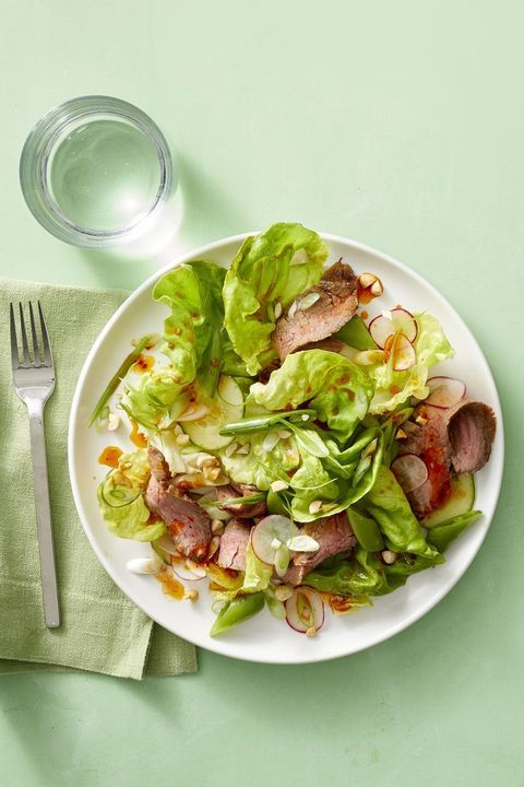 hearty salad recipes  korean steak salad with sugar snaps and radishes